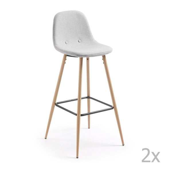 Sada 2 světle šedých barových židlí La Forma Nilson