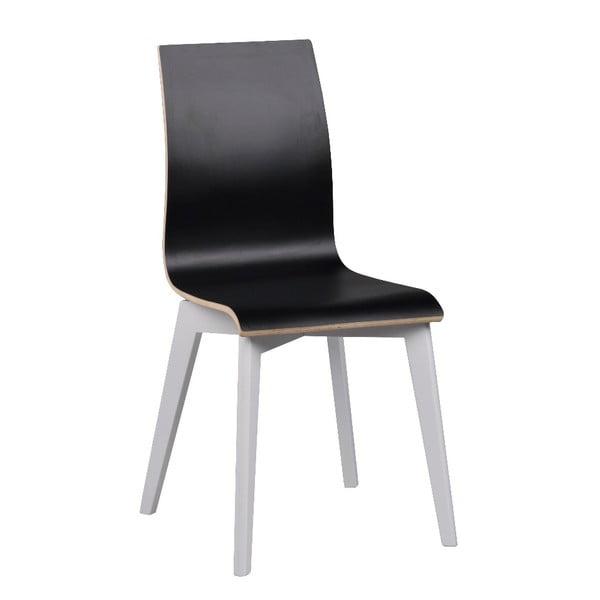Čierna jedálenská stolička s bielymi nohami Rowico Grace