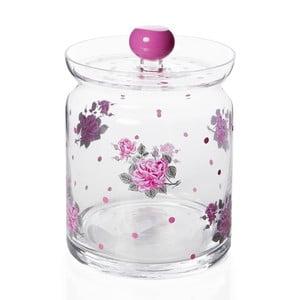 Růžová skleněná dóza s víkem Mezzo Lid, 500 ml