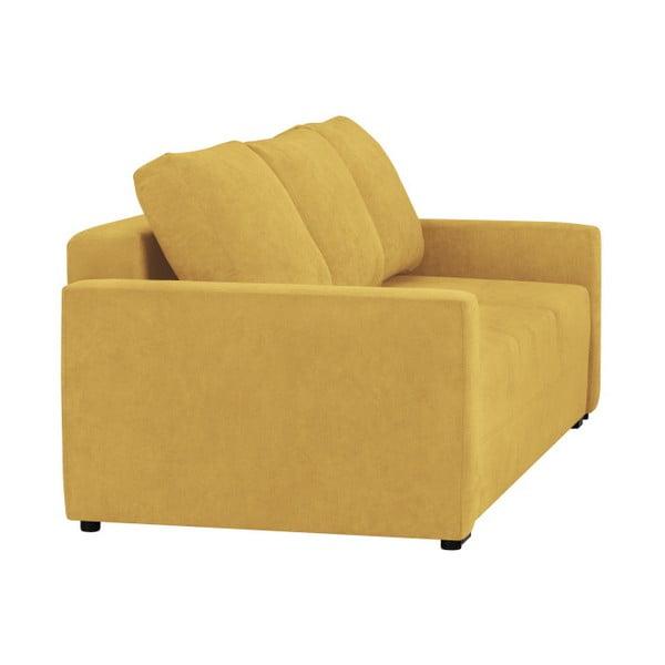 Canapea extensibilă cu 3 locuri și spațiu pentru depozitare Melart Francisco, galben