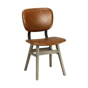 Hnědá kožená židle Miloo Home College