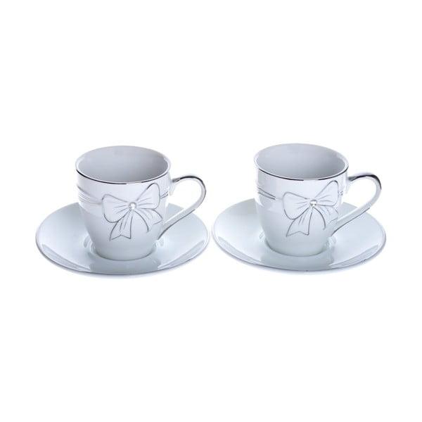 Porcelánové šálky na espresso s podšálky Stříbrná, 2 ks