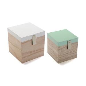 Sada 2 dřevěných úložných boxů Versa Secret