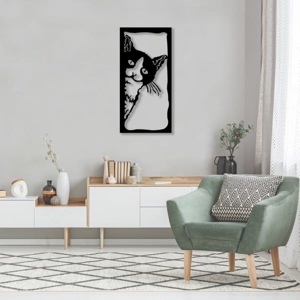 Černá kovová nástěnná dekorace The Cat, 35 x 70 cm