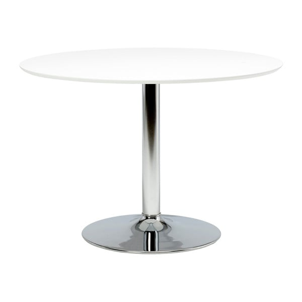 Biely guľatý jedálenský stôl so sklenenou doskou Actona Ibiza, ⌀ 110 cm