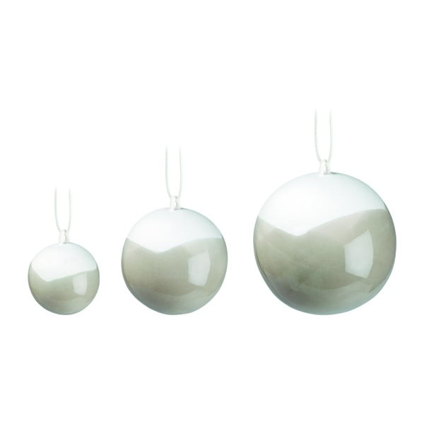 Set 3 globuri de Crăciun din porțelan chinezesc Kähler Design Nobili, gri