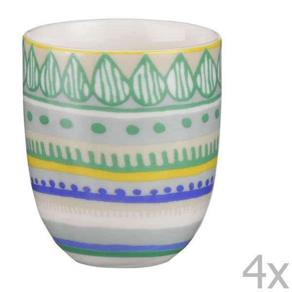Sada 4 porcelánových šálků na espresso Oilily 80 ml, zelená