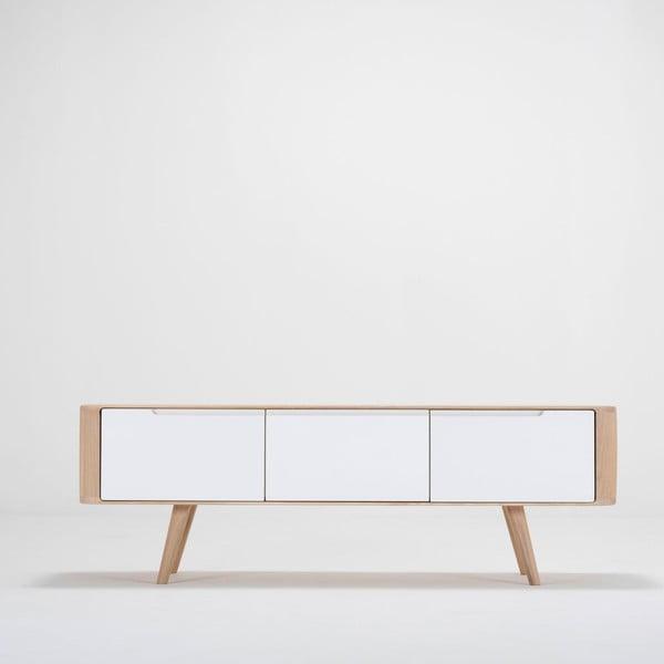 Comodă TV din lemn de stejar Ena, 135 x 55 x 45 cm