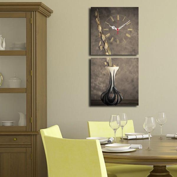 Obraz z zegarem Kompozycja z wazonem, 60x28 cm