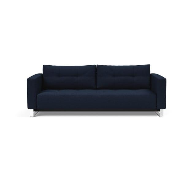 Tmavě modrá rozkládací pohovka Innovation Cassius Mixed Dance Blue, 115x230cm