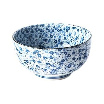 Bol din ceramică pentru udon MIJ Daisy, ø16cm, alb - albastru