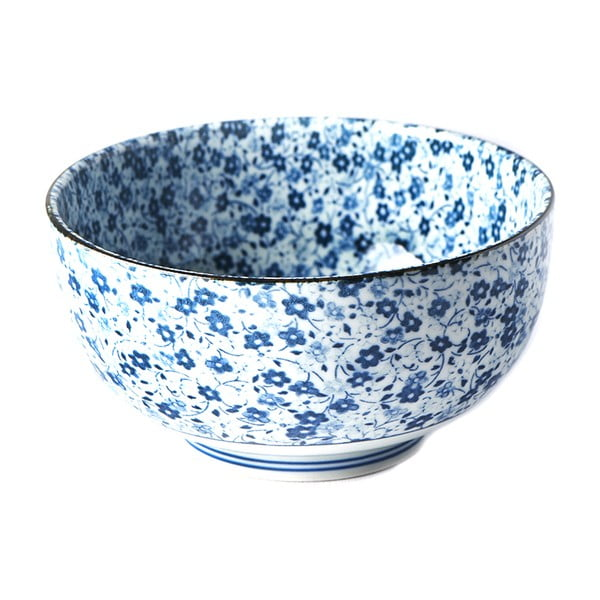Niebiesko-biała miska ceramiczna na udon MIJ Daisy, ø 16 cm