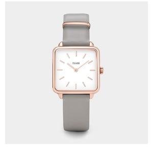 Dámské hodinky s hranatým ciferníkem a šedým koženým řemínkem Cluse La Tétragone