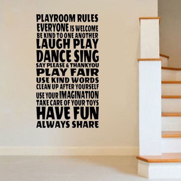 Dekorativní samolepka Playroom Rules, 60x40 cm