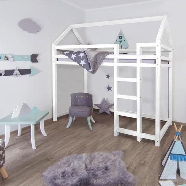 Bílá dřevěná vyvýšená dětská postel Benlemi Nestys,90x200cm