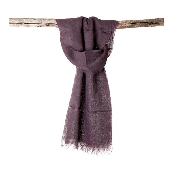 Lněný šátek Luxor 65x200 cm, fialovohnědý