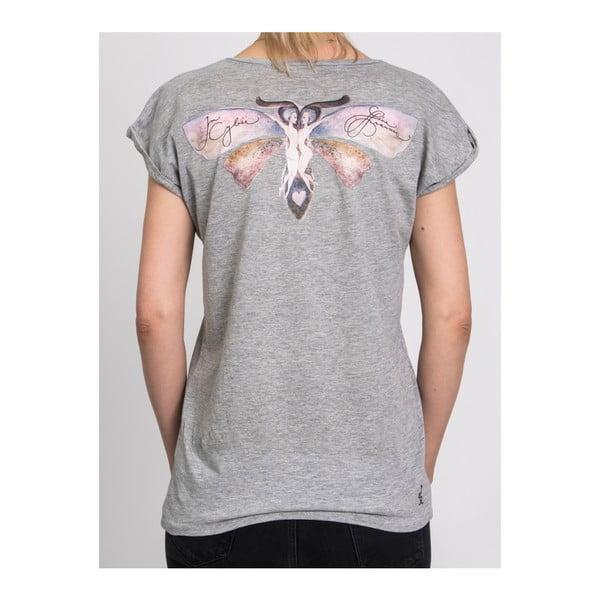Dámské šedé triko z organické bavlny s motivem Spolu od Lény Brauner & IM Cyber pro KlokArt, vel.S