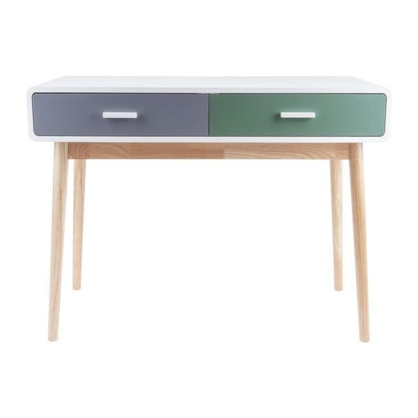 Zeleno-šedý konzolový stolek se 2 zásuvkami Leitmotiv Neat