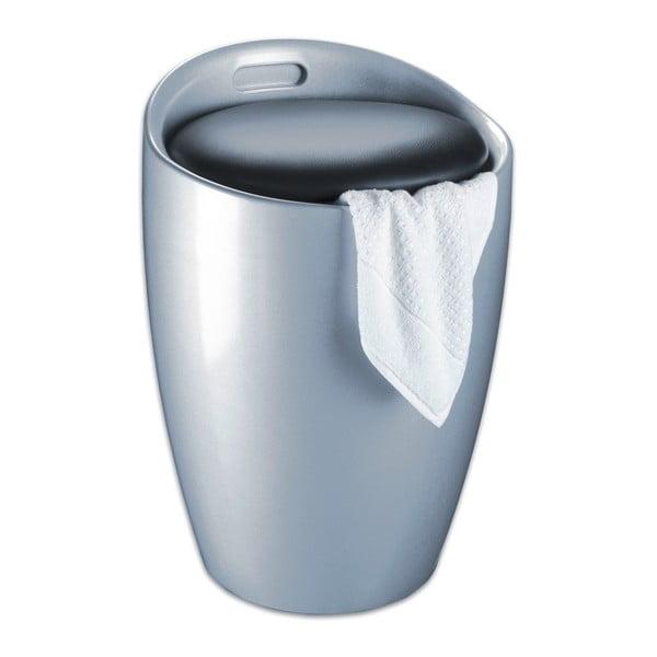 Koš na prádlo a taburetka v jednom ve stříbrné barvě Wenko Candy, 20 l