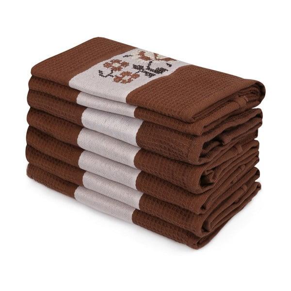 Sada 6 tmavě hnědých ručníků z čisté bavlny Simplicity, 45 x 70 cm