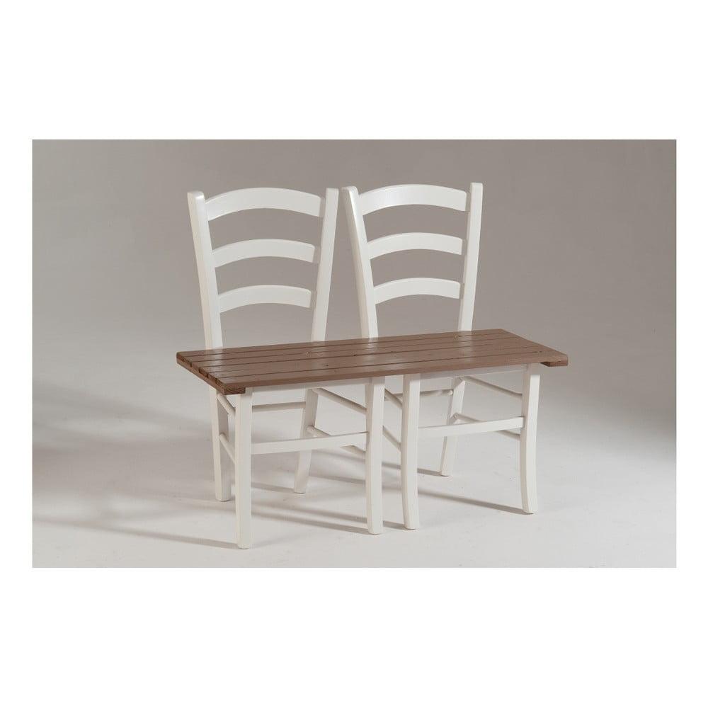 Bílo-hnědá dřevěná lavice pro dva Castagnetti Fir
