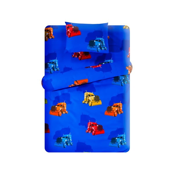 Set povlečení Home de Bleu 100x150 cm, Trucks Dark Blue