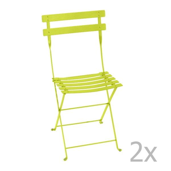 Sada 2 limetkově zelených skládacích židlí Fermob Bistro