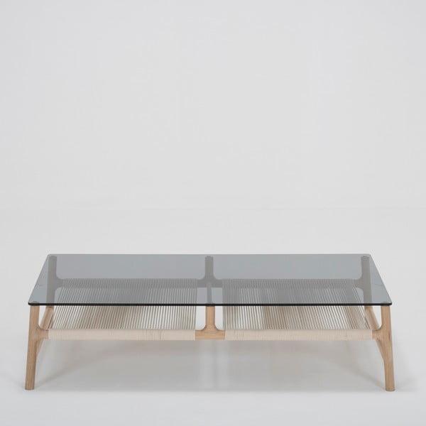 Konferenční stolek s konstrukcí z masivního dubového dřeva a šedou deskou Gazzda Fawn, šířka120cm