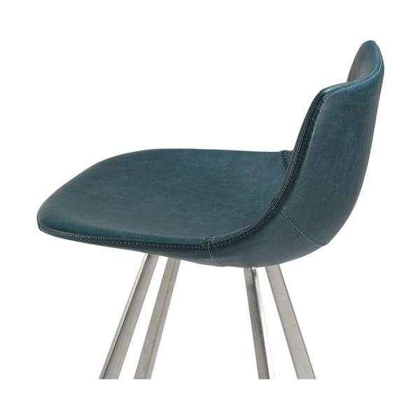 Modrá barová židle s ocelovým podnožím DAN–FORM Pitch