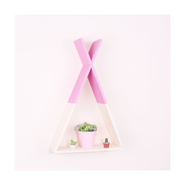 Raft de perete din lemn North Carolina Scandinavian Home Decors Teepee L, roz