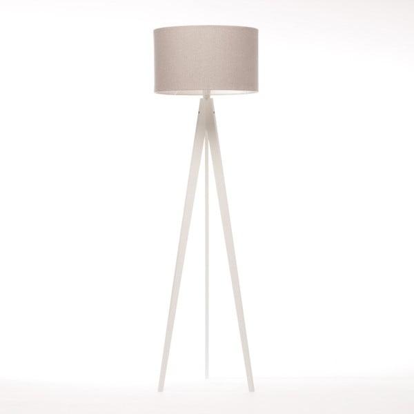 Krémová stojací lampa 4room Artist, bílá lakovaná bříza, 150 cm