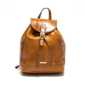 Koňakově hnědý dámský kožený batoh Anna Luchini Carinna