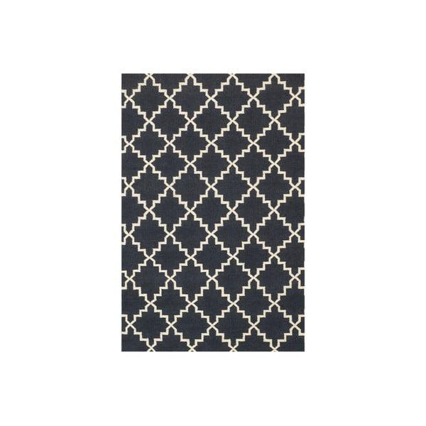 Vlněný koberec Eugenie Dark Grey, 180x120 cm