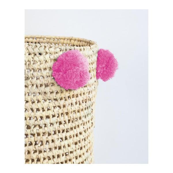 Sada 2 úložných košíků z palmových vláken s růžovými dekoracemi Madre Selva Milo Basket