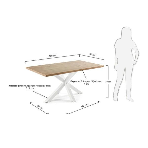 Jídelní stůl s bílým podnožím La Forma Arya Natural,délka160cm