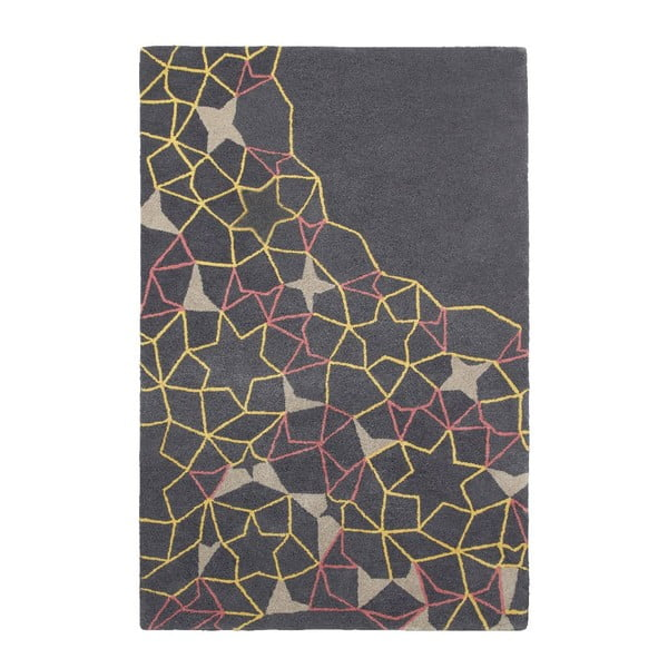 Vlněný koberec Think Rugs Spectrum Grey Yellow Pink, 120 x 170 cm