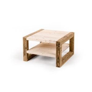 Dvojitý dřevěný konferenční stolek se světlou deskou Antique Wood, 68x68cm