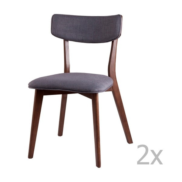 Sada 2 tmavě šedých jídelních židlí sømcasa Lin