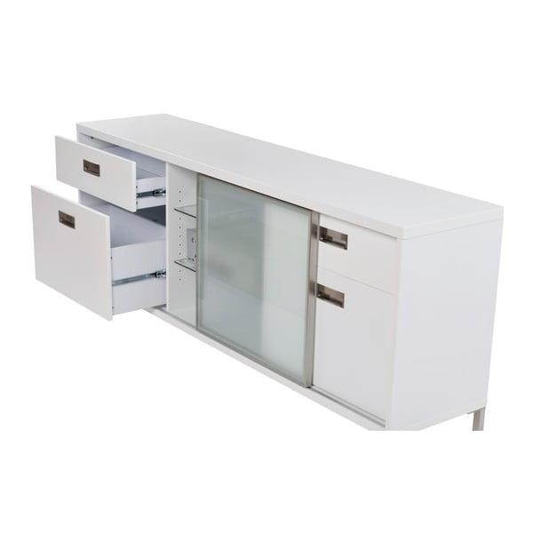 Bílý televizní stolek se čtyřmi šuplíky Folke Satyr, výška 71 cm