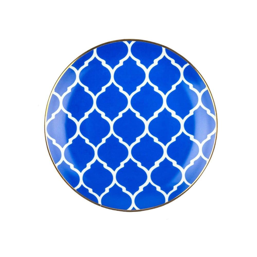 Modrobílý porcelánový talíř Vivas Morocco, Ø23cm