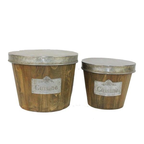 Sada 2 košů z jedlového dřeva Antic Line Cuisine