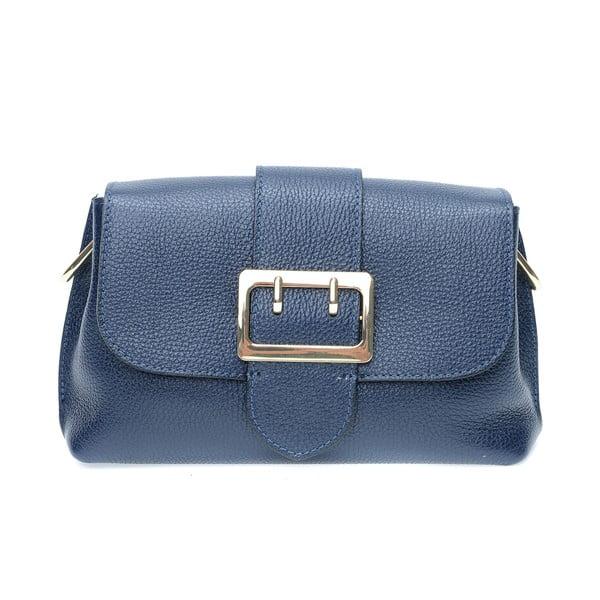 Modrá kožená taška cez rameno s 3 vreckami Isabella Rhea
