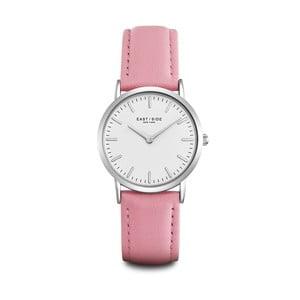 Dámské hodinky s růžovým koženým řemínkem a ciferníkem ve stříbrné barvě Eastside East Village