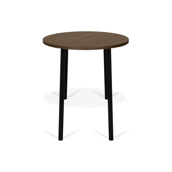 Stolik z dekorem drewna orzecha z czarnymi nogami TemaHome Ply, ø 50 cm