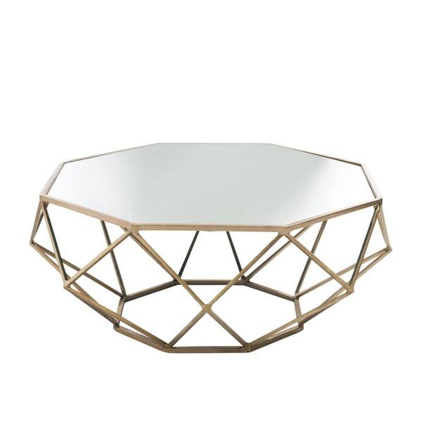 Odkládací stolek se zrcadlovou deskou Geometry Ø91 cm, zlatý