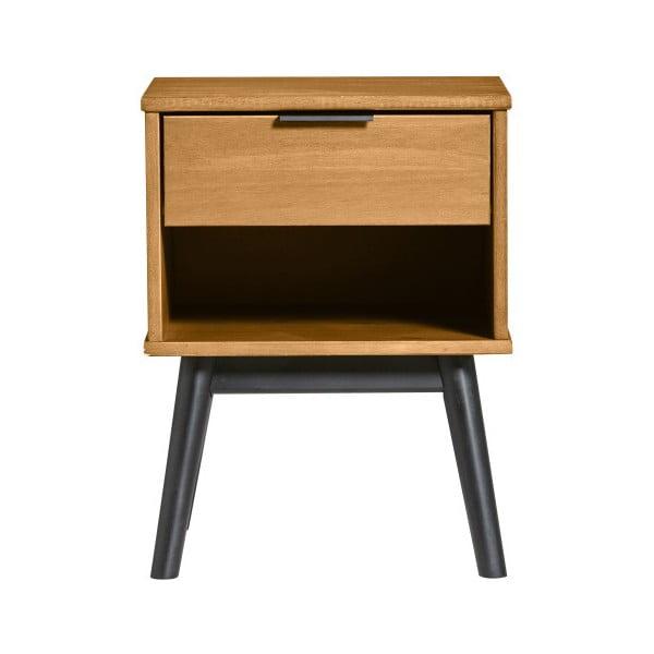 Brązowa szafka nocna z drewna sosnowego Marckeric Estela