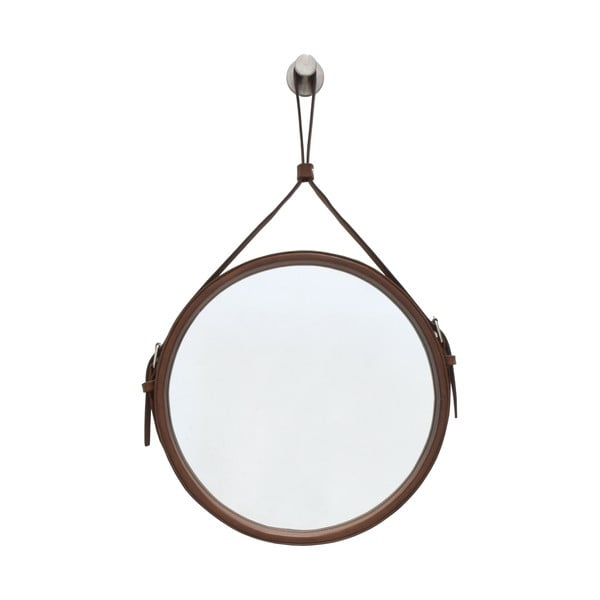 Závesné zrkadlo v hnedom ráme RGE Elvis, ø 50 cm