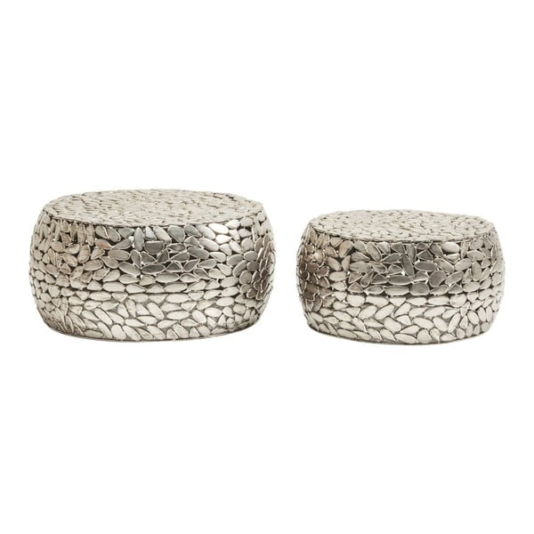 Sada 2 konferenčních stolků ve stříbrné barvě Kare Design Pebbles