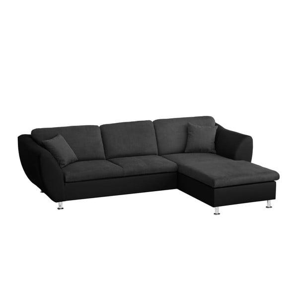 Canapea cu șezlong pe partea dreaptă Florenzzi Maderna Black/Anthracite