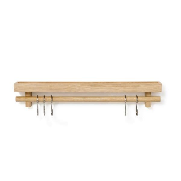 Polička svěšákem na kuchyňské nástroje zdubového dřeva Wireworks